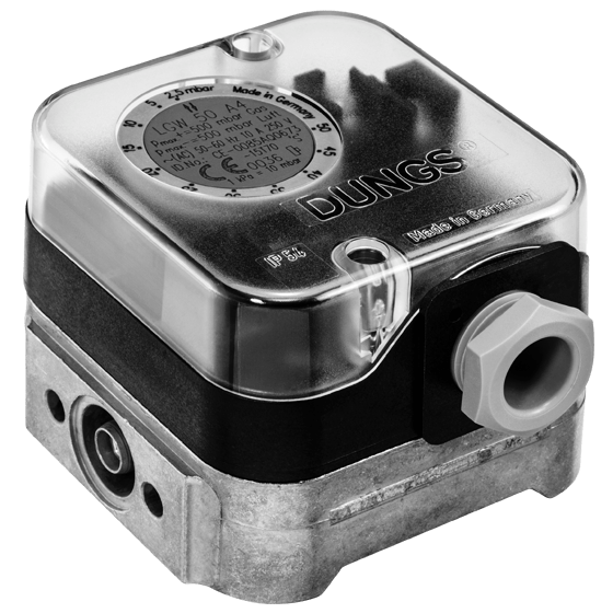 LGW, A4: Диференціальний датчик-реле тиску повітря, газу, димових і відпрацьованих газів.